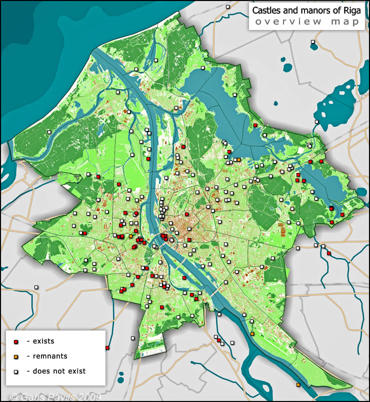 Overview map of Riga manors and castles